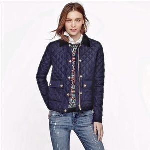 J. Crew Navy Quilted Tack Barn Puffer Down Coat